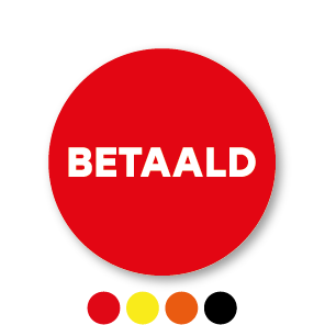 Betaald stickers rond 30mm