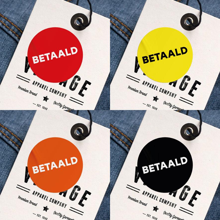 Betaald stickers rood, geel, oranje, zwart rond 30mm kleding hangtag