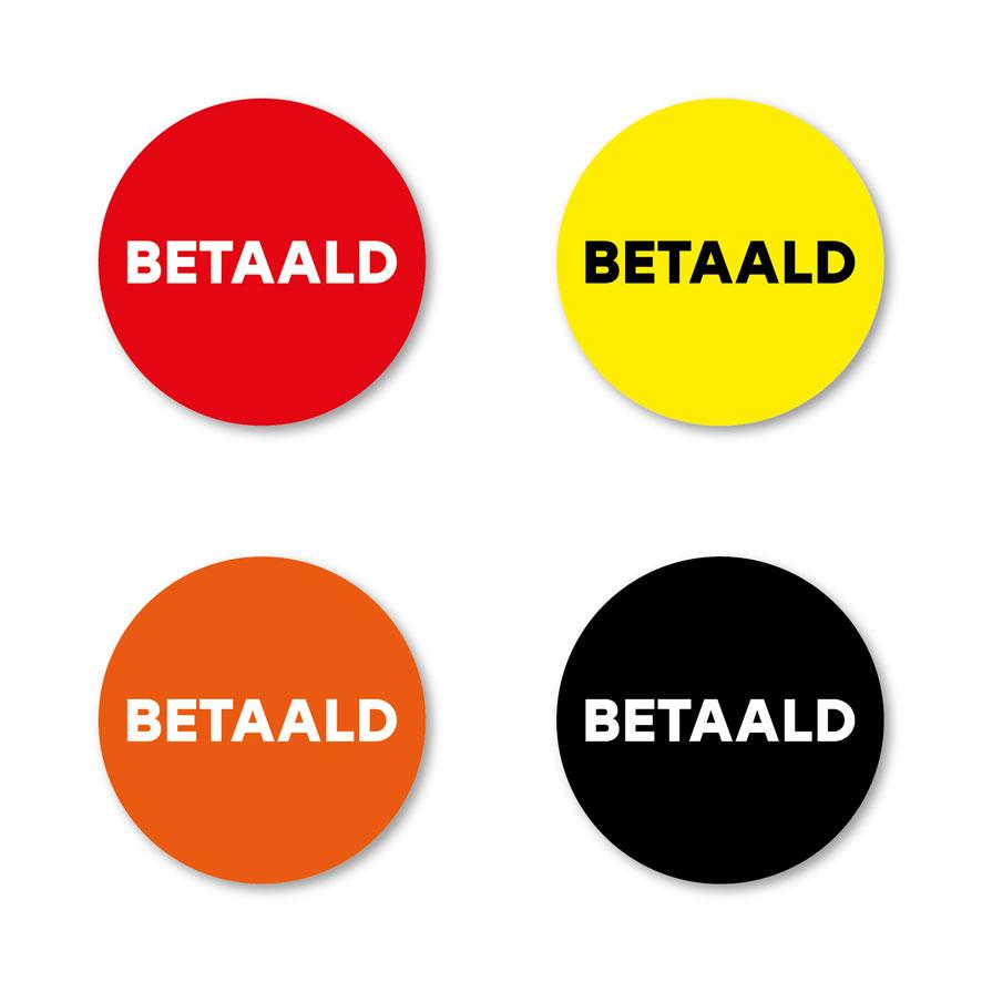 Betaald stickers rood, geel, oranje, zwart rond 30mm witte achtergrond