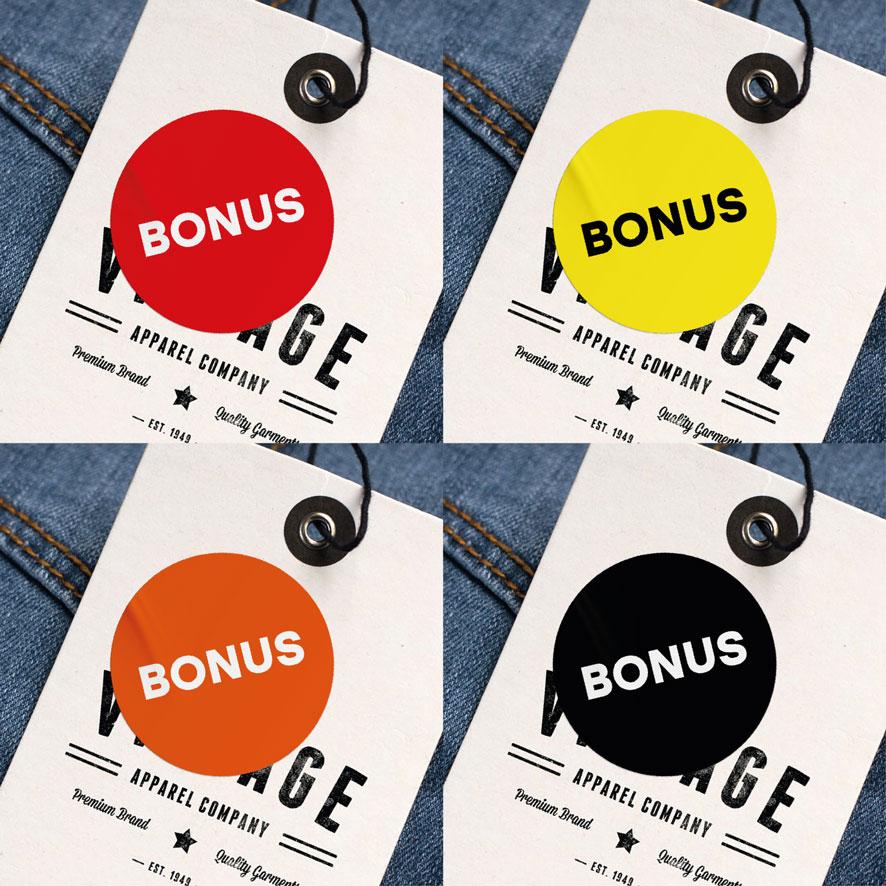 Bonus stickers rood, geel, oranje, zwart rond 30mm kleding hangtag
