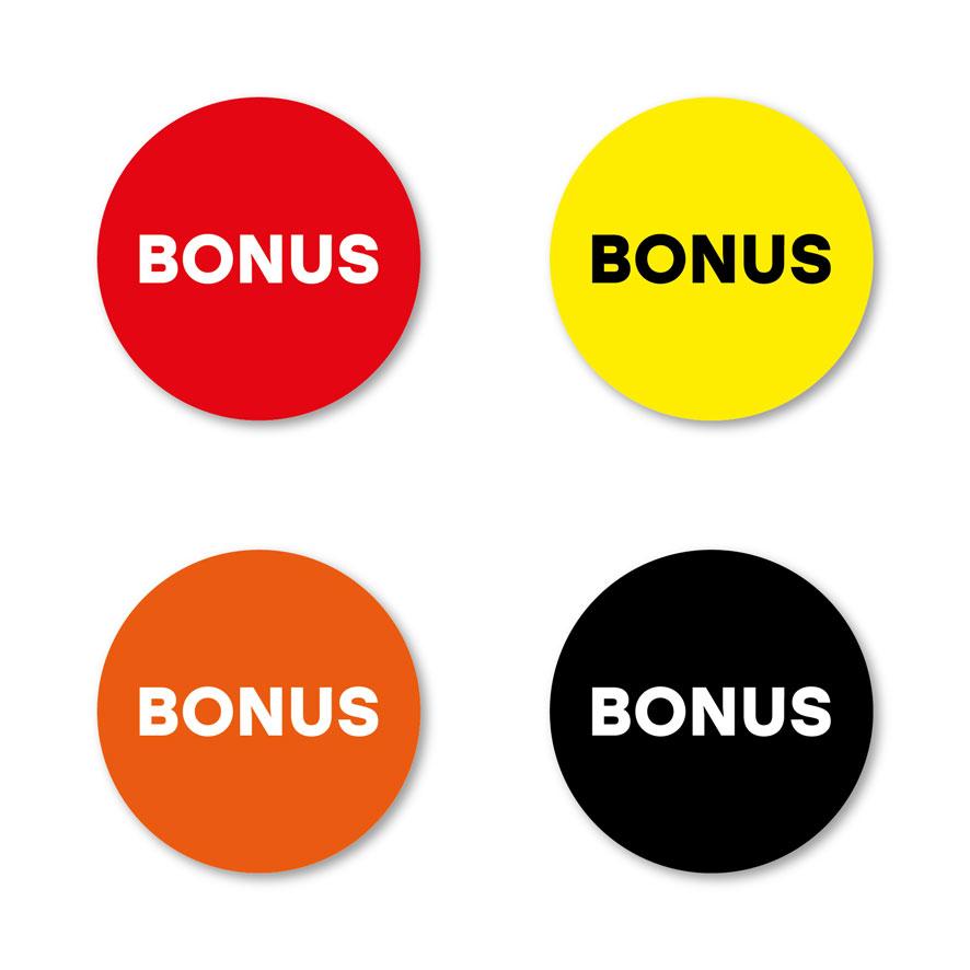 Bonus stickers rood, geel, oranje, zwart rond 30mm witte achtergrond