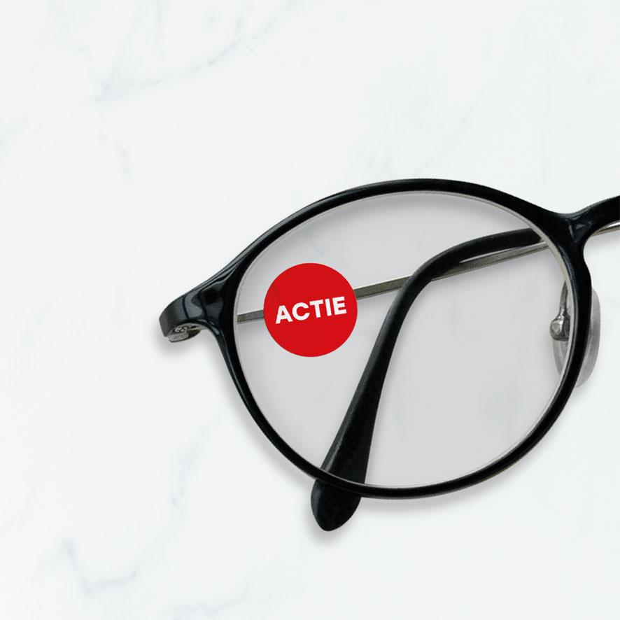 Bril sticker 'Actie' rond 15mm brillenglas