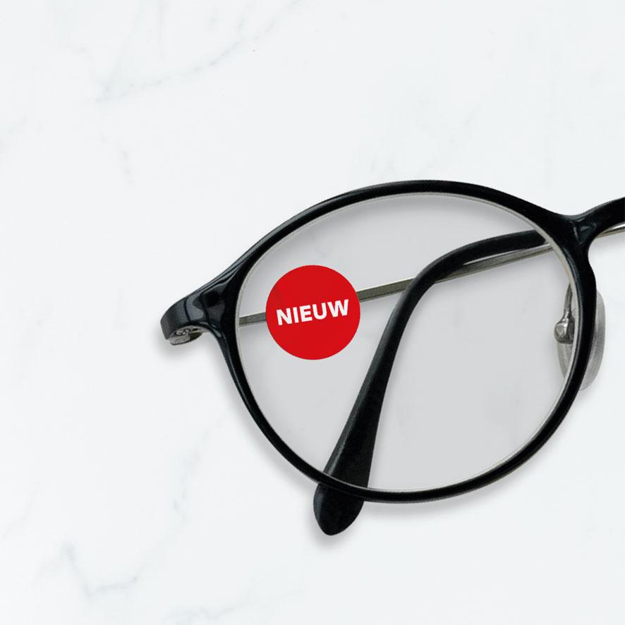 Bril sticker 'Nieuw' rond 15mm brillenglas
