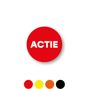 Bril stickers 'Actie' zwart-wit rond 15mm