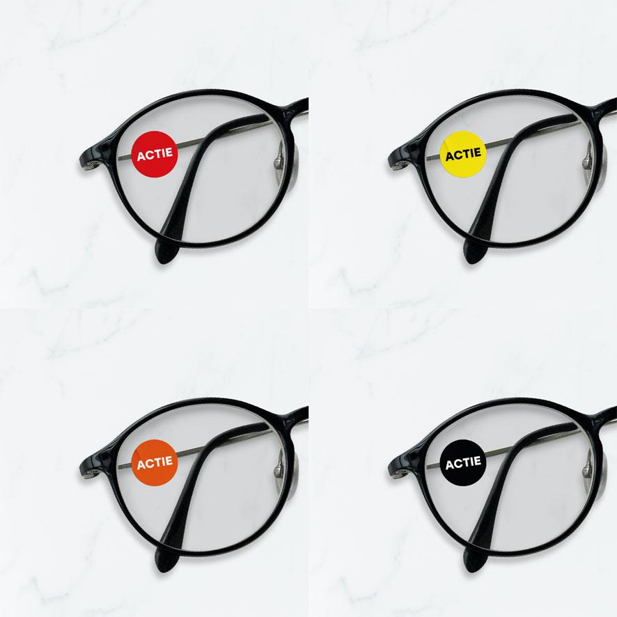 Bril stickers 'Actie' zwart rond 15mm brillenglas