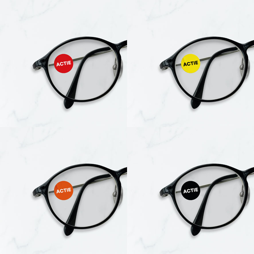 Bril stickers 'Actie' rood, geel, oranje, zwart rond 15mm brillenglas