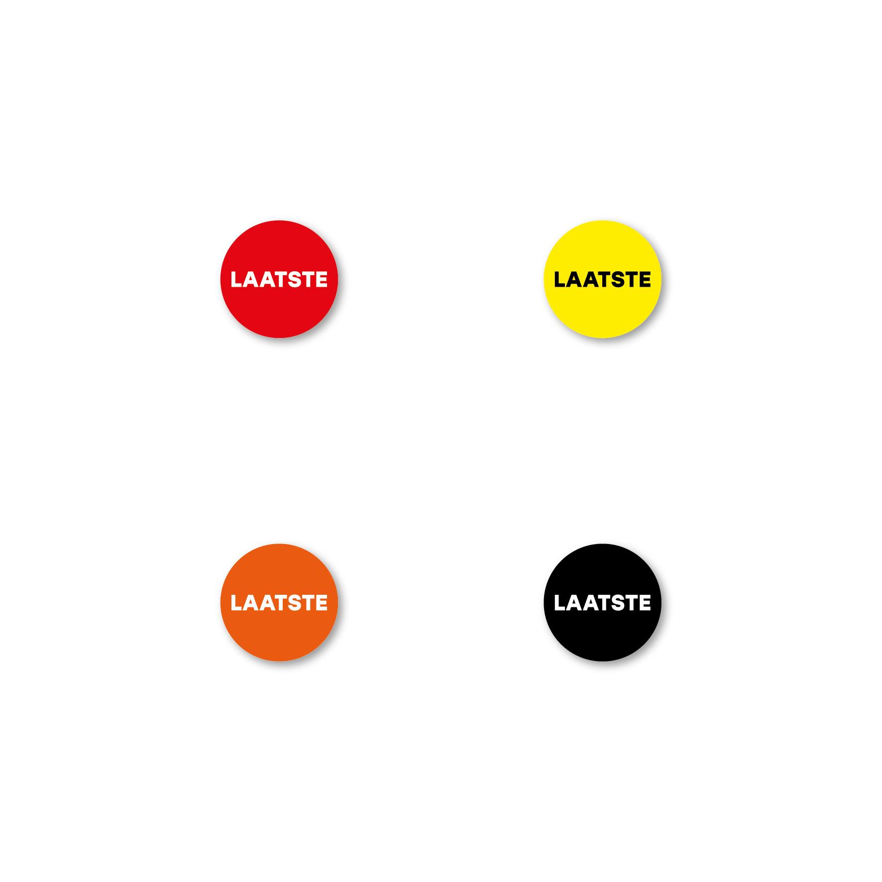 Bril stickers 'Laatste' geel-zwart rond 15mm
