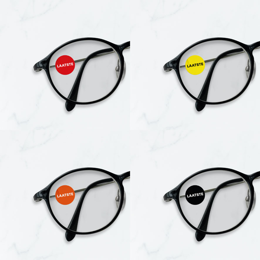 Bril stickers 'Laatste' rood, geel, oranje, zwart rond 15mm brillenglas