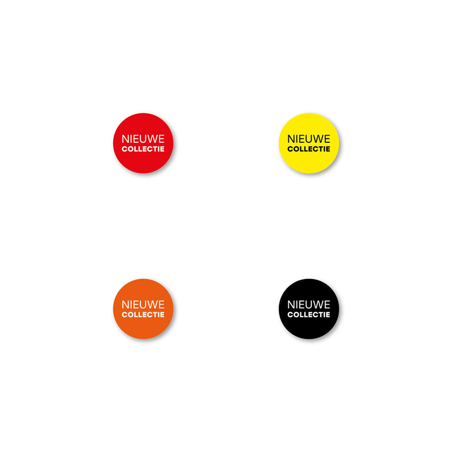 Bril stickers 'Nieuwe Collectie' rood, geel, oranje, zwart rond 15mm witte achtergrond
