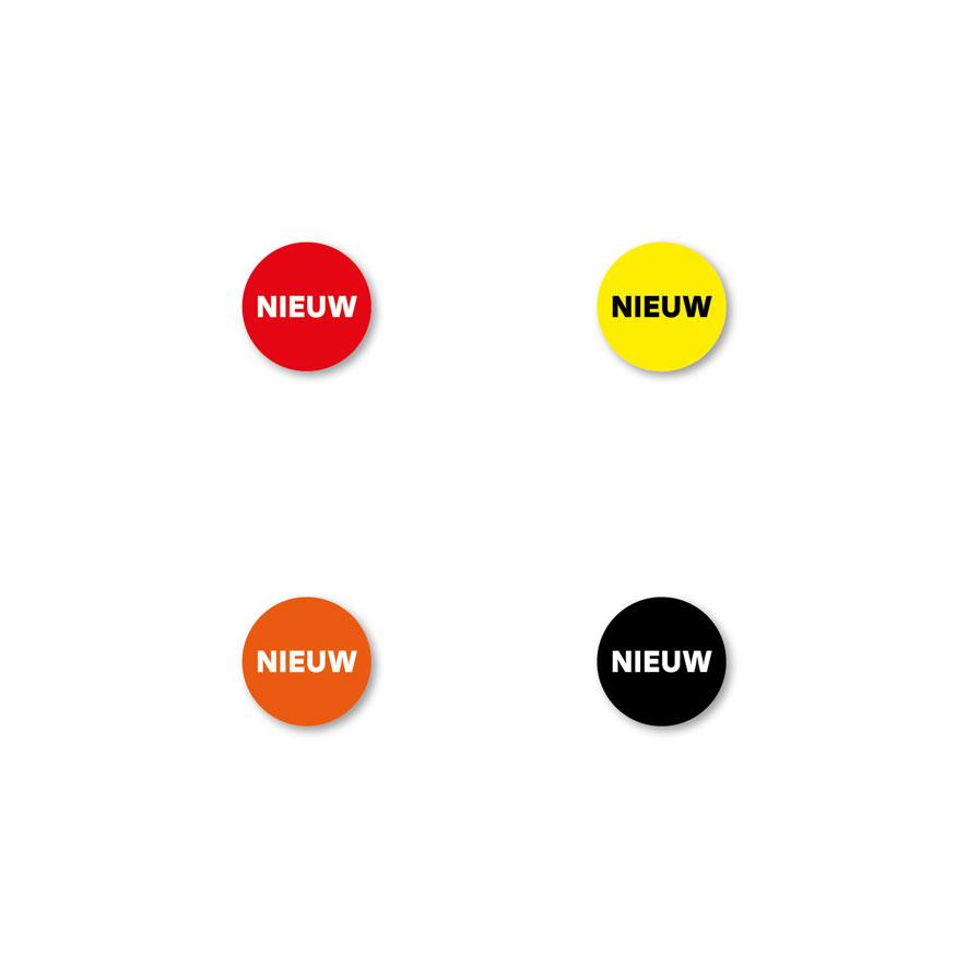 Bril stickers 'Nieuw' rood, geel, oranje, zwart rond 15mm witte achtergrond