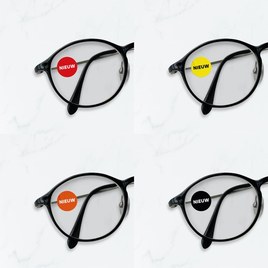 Bril stickers 'Nieuw' rood, geel, oranje, zwart rond 15mm brillenglas