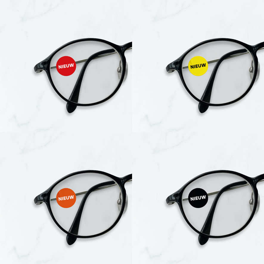 Bril stickers 'Nieuw' rood rond 15mm brillenglas