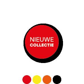 Bril stickers 'Nieuwe collectie' rood-wit rond 15mm