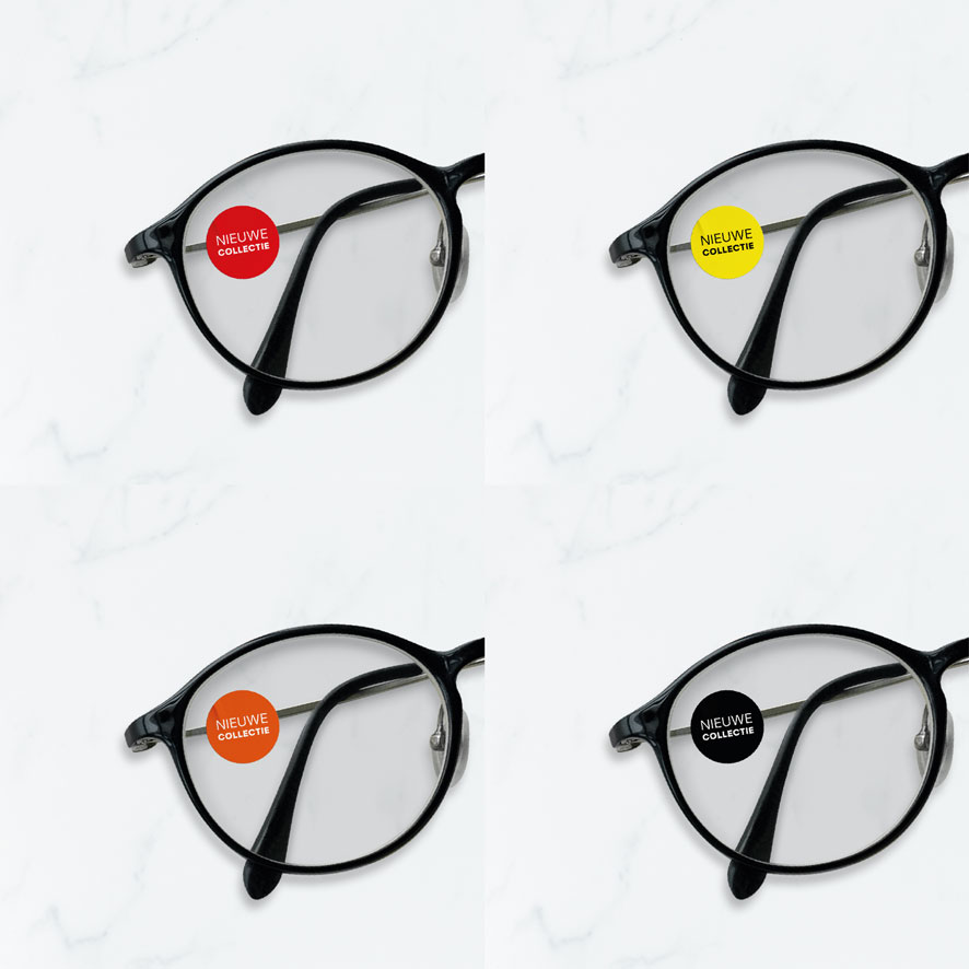 Bril stickers 'Nieuwe Collectie' rood, geel, oranje, zwart rond 15mm brillenglas