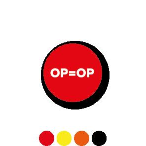 Bril stickers 'OP=OP' oranje-wit rond 15mm