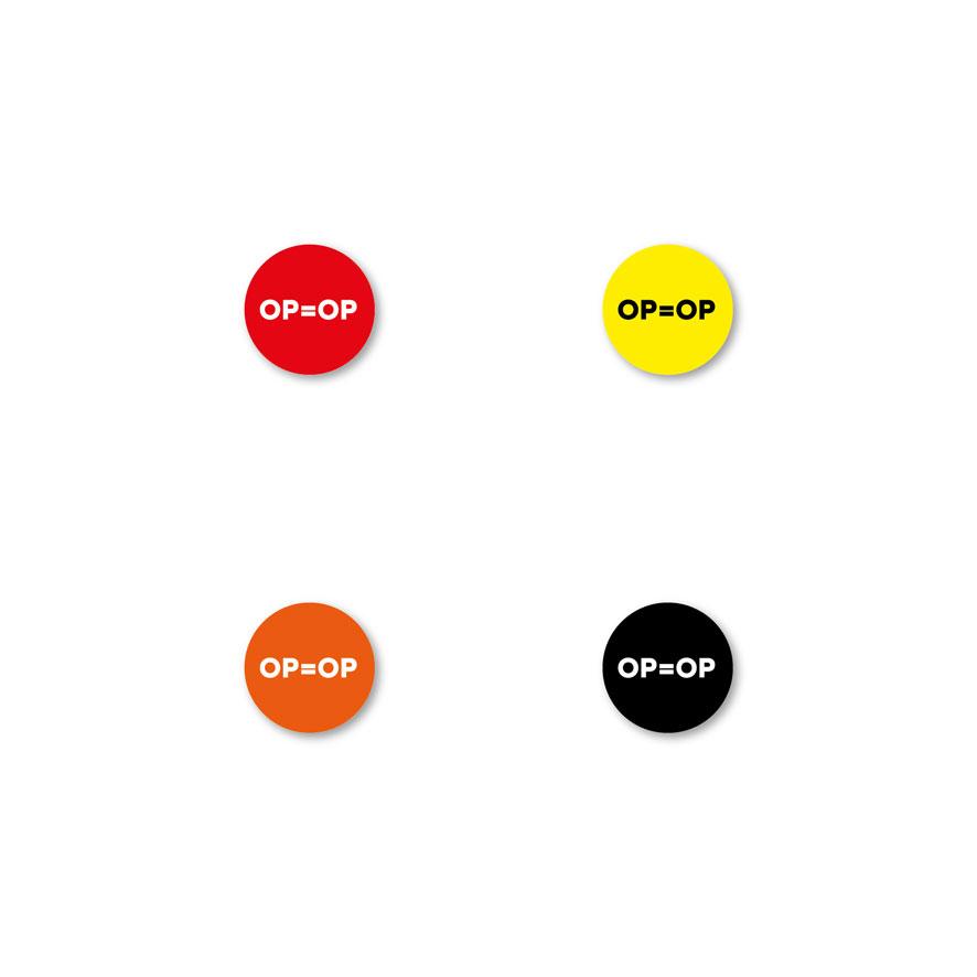 Bril stickers 'OP=OP' rood, geel, oranje, zwart rond 15mm witte achtergrond