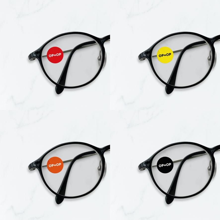 Bril stickers 'OP=OP' rood, geel, oranje, zwart rond 15mm brillenglas