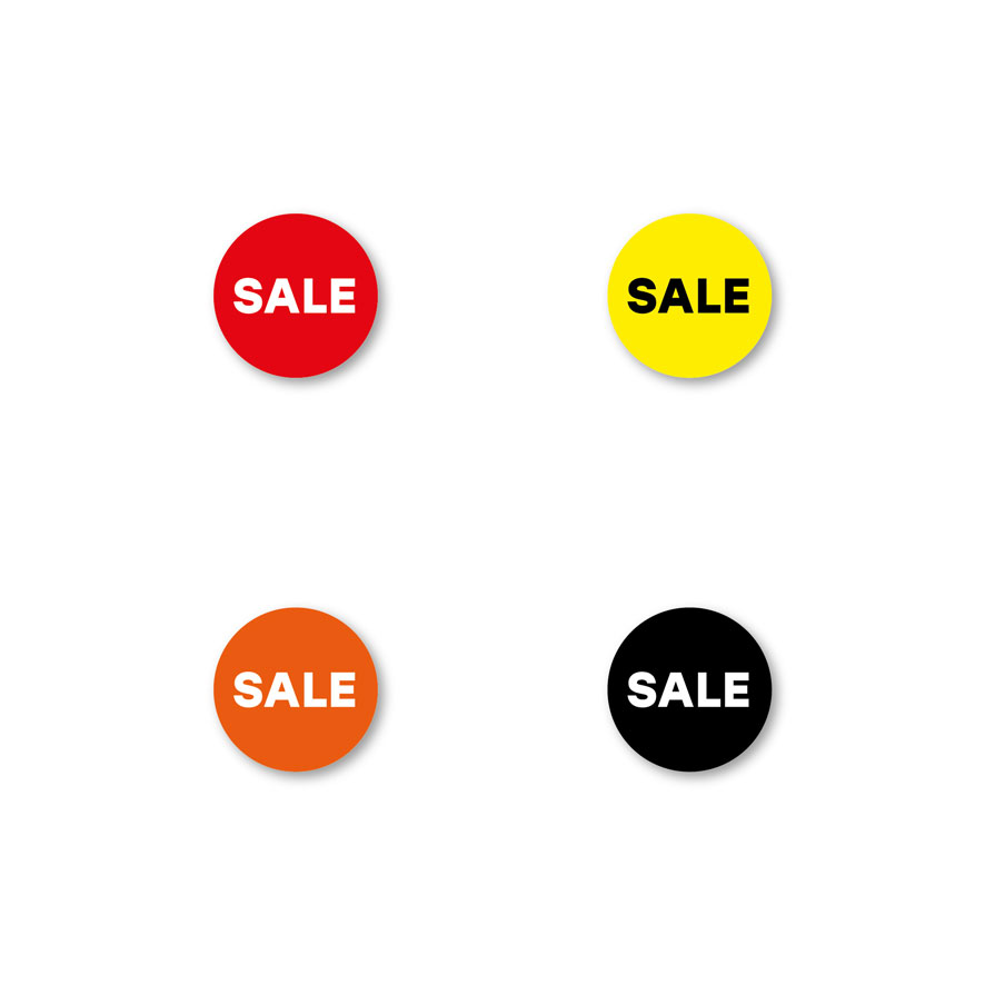 Bril stickers 'Sale' rood, geel, oranje, zwart rond 15mm witte achtergrond