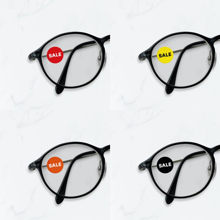 Bril stickers 'Sale' rood, geel, oranje, zwart rond 15mm brillenglas