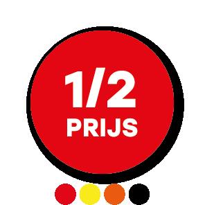 Halve prijs stickers rood-wit rond 30mm