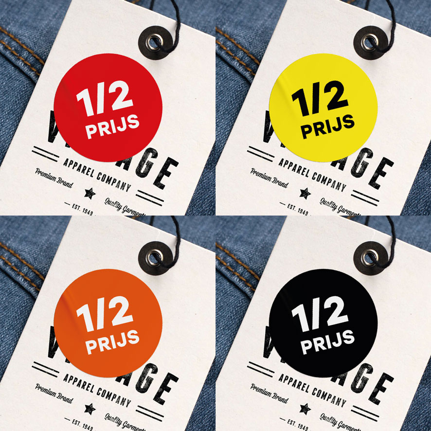 Halve prijs sticker zwart rond 30mm hangtag