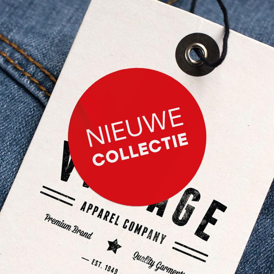 Nieuwe Collectie sticker rood rond 30mm kleding hangtag