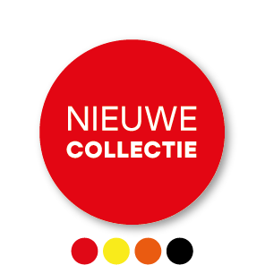 Nieuwe collectie stickers rood-wit rond 30mm