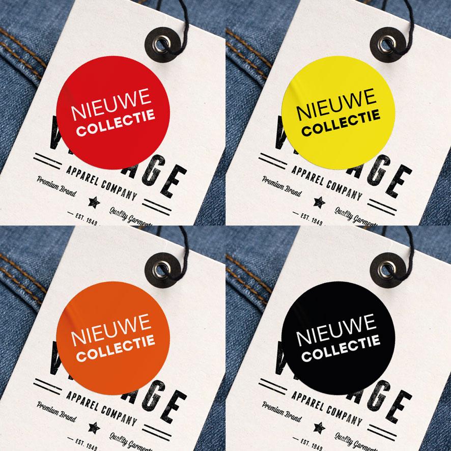Nieuwe Collectie stickers rood, geel, oranje, zwart rond 30mm kleding hangtag