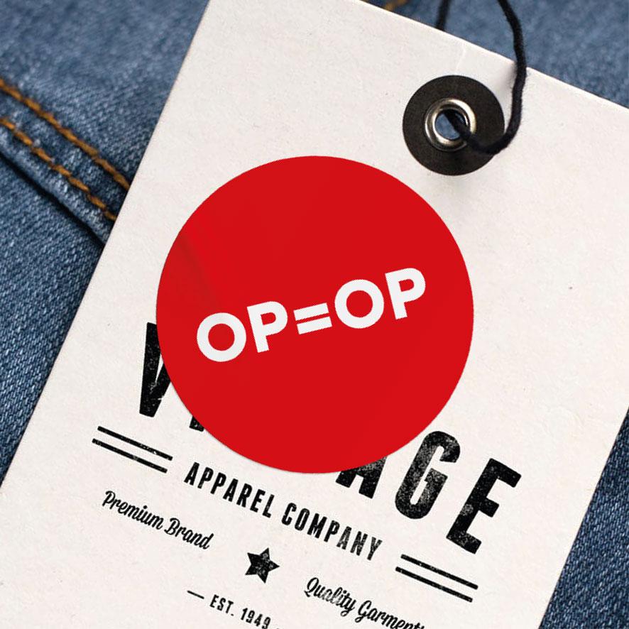 OP=OP sticker rood rond 30mm kleding hangtag