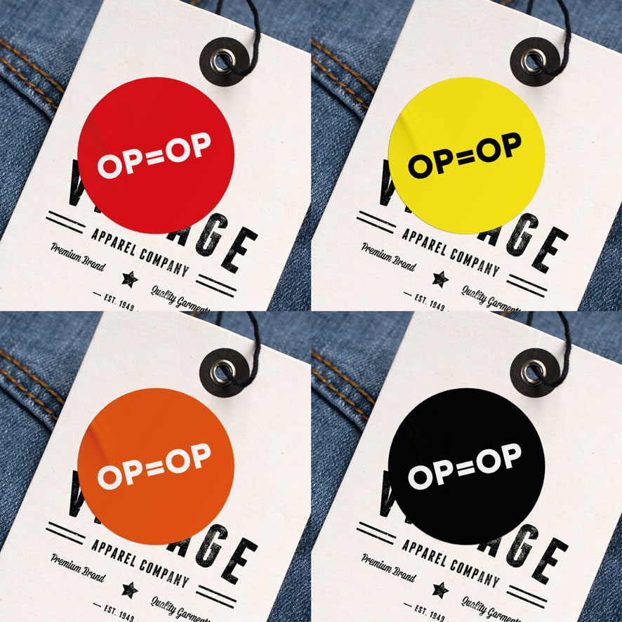 OP=OP stickers rood, geel, oranje, zwart rond 30mm kleding hangtag