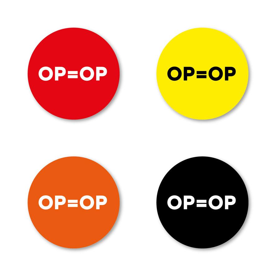 OP=OP stickers rood, geel, oranje, zwart rond 30mm witte achtergrond