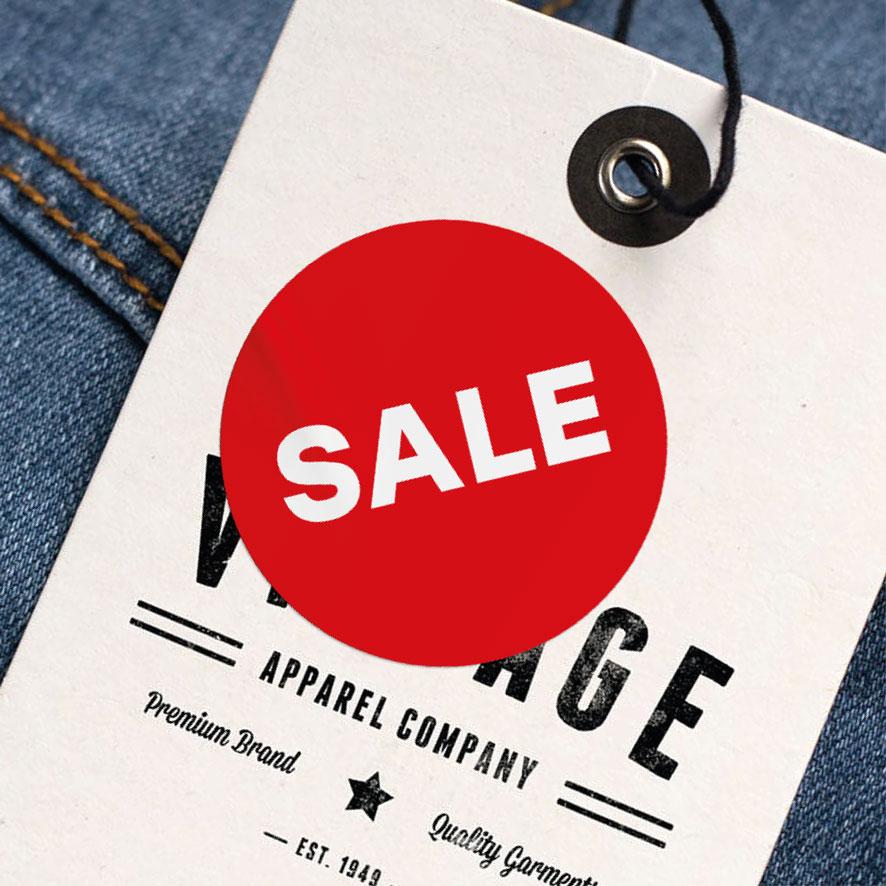 Sale sticker rood rond 30mm kleding hangtag