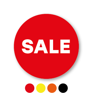 Sale stickers rood-wit rond 30mm