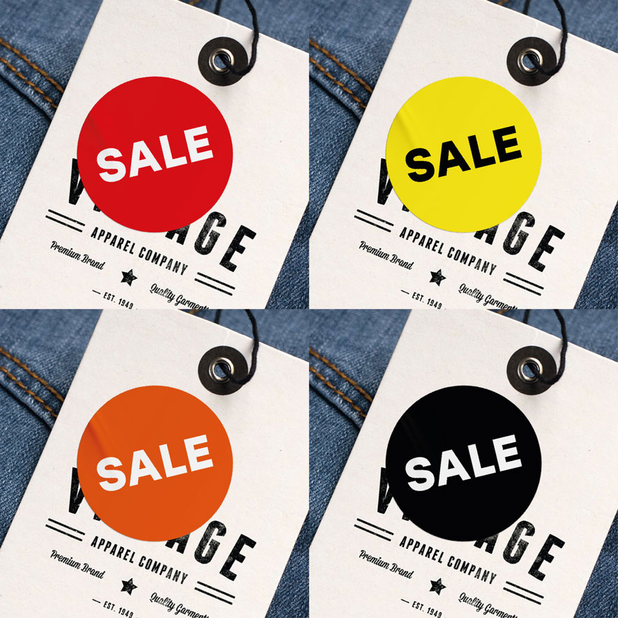 Sale sticker rood rond 30mm hangtag