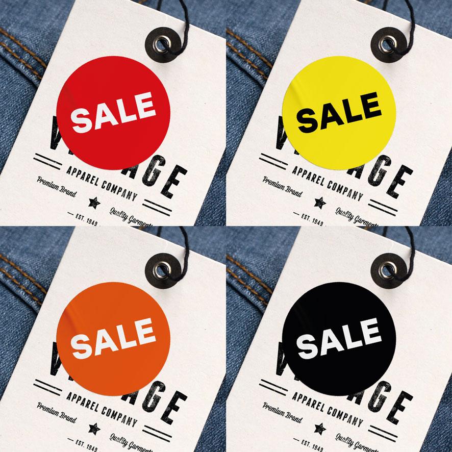 Sale stickers rood, geel, oranje, zwart rond 30mm kleding hangtag