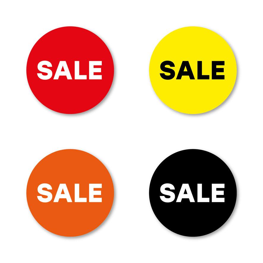 Sale stickers rood, geel, oranje, zwart rond 30mm witte achtergrond