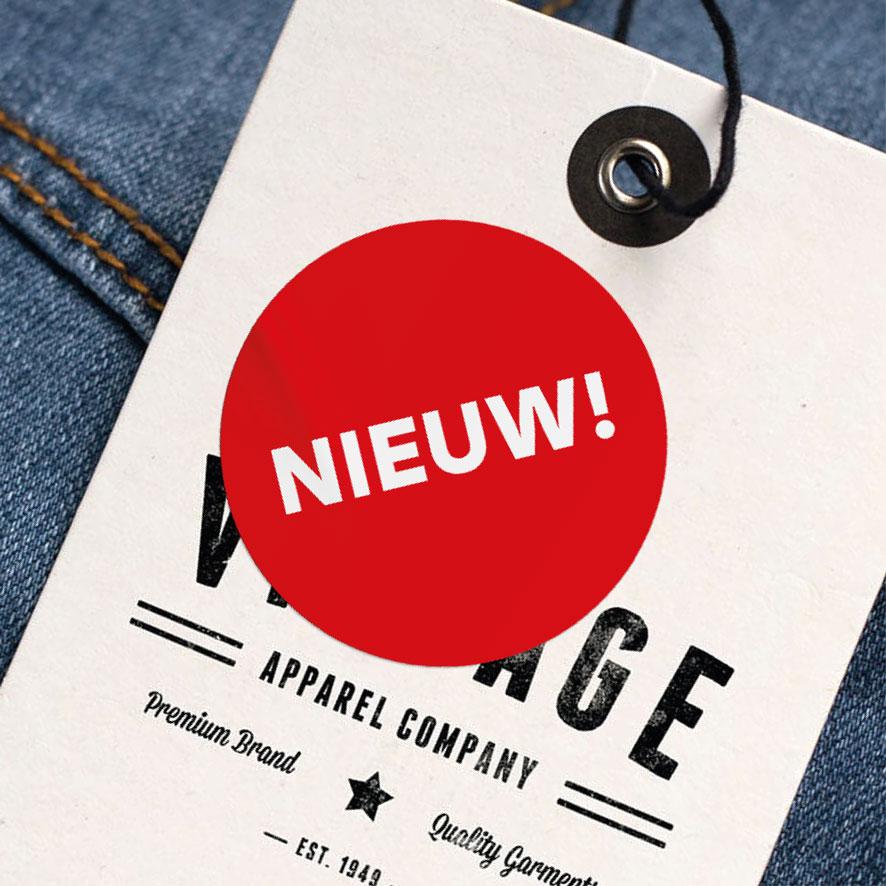 Stickers 'Nieuw' rood rond 30mm kleding hangtag