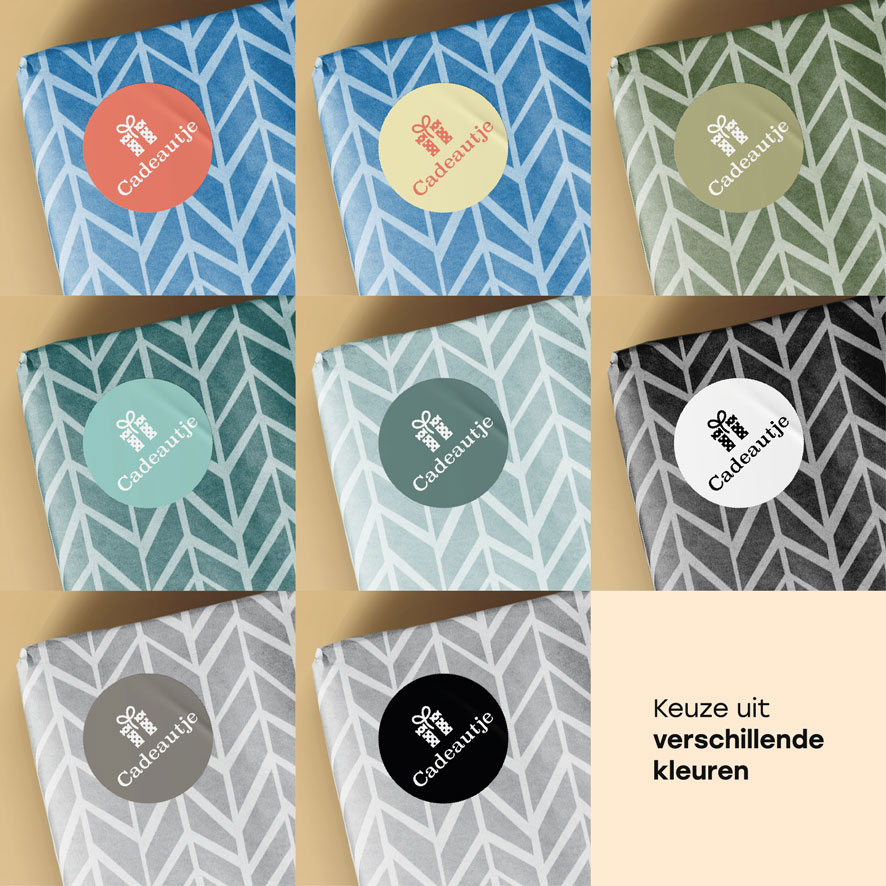 Stickers 'Cadeautje' lichtrood, lichtgeel, kaki, mint, donkercyaan, wit, donkergrijs, zwart rond 30mm cadeau verpakking