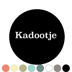 Stickers 'Kadootje' donkercyaan-lichtgrijs rond 30mm