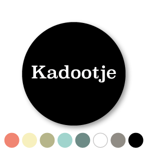 Stickers 'Kadootje' donkergrijs-lichtgrijs rond 30mm