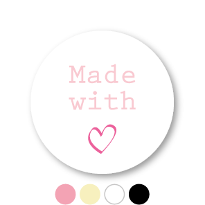 Stickers 'Made with love' wit-lichtroze-donkerroze rond 30mm