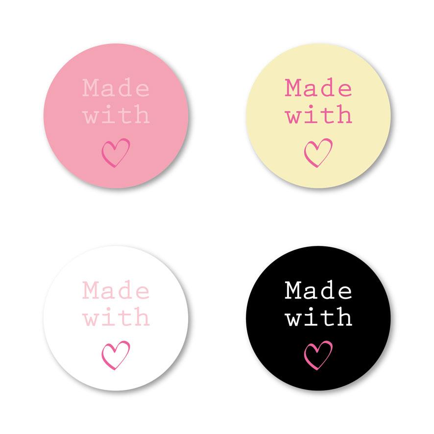 Stickers 'Made With Love' roze, lichtgeel, wit, zwart rond 30mm witte achtergrond