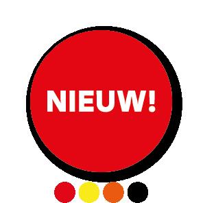 Stickers 'Nieuw' geel-zwart rond 30mm