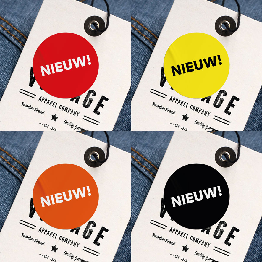 Stickers 'Nieuw' rood, geel, oranje, zwart rond 30mm kleding hangtag