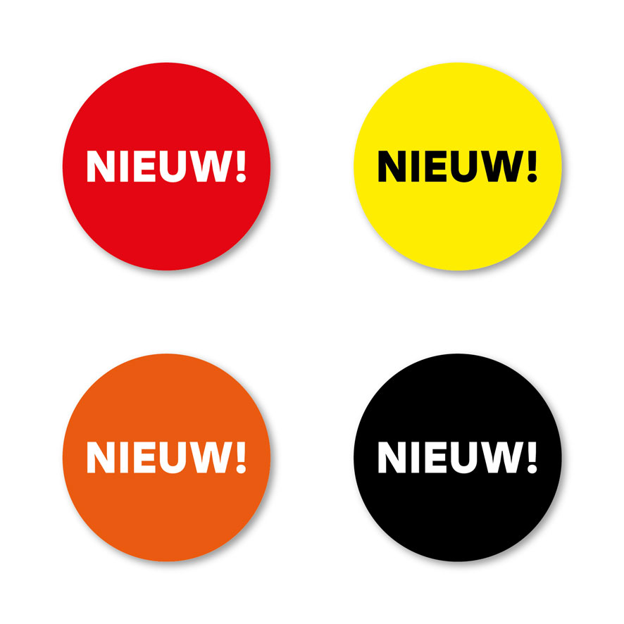 Stickers 'Nieuw' rood-wit rond 30mm