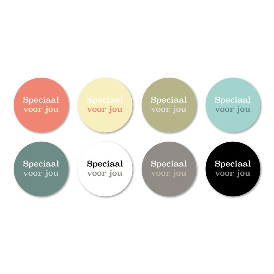 Stickers 'Speciaal voor jou' lichtrood, lichtgeel, kaki, mint, donkercyaan, wit, donkergrijs, zwart rond 30mm witte achtergrond