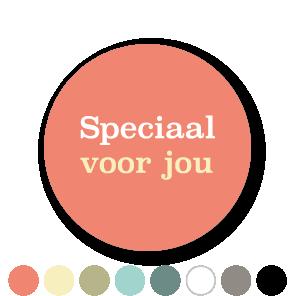 Stickers 'Speciaal voor jou' lichtgeel-wit-lichtrood rond 30mm