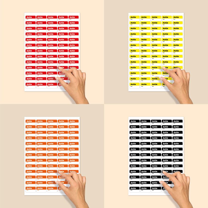 Stickervel beschrijfbare 'Actie' stickers rood, geel, oranje, zwart rechthoek 38x21mm