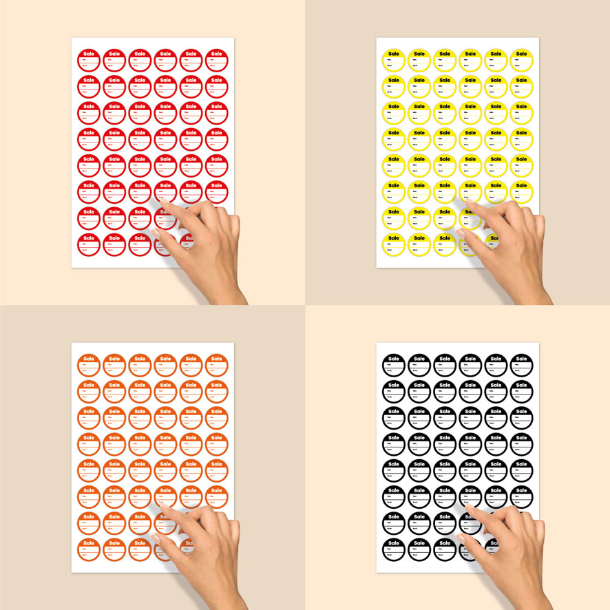 Stickervel beschrijfbare 'Sale' stickers oranje-wit rond 30mm