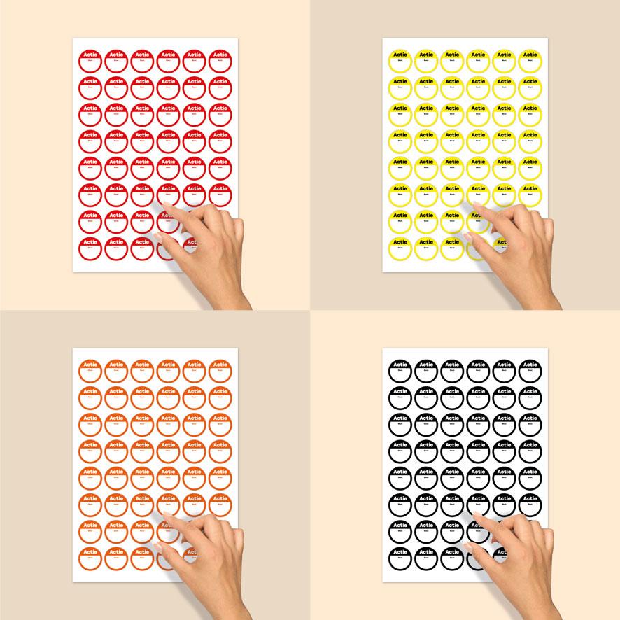 Stickervel beschrijfbare 'Actie' stickers rood, geel, oranje, zwart rond 30mm